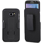 Galaxy S6 Case, Aduro Shell & Holster Combo Case Super Slim Shell Case w/ Built-In Kickstand + Swivel Belt Clip Holster for Samsung Galaxy S6, Black
