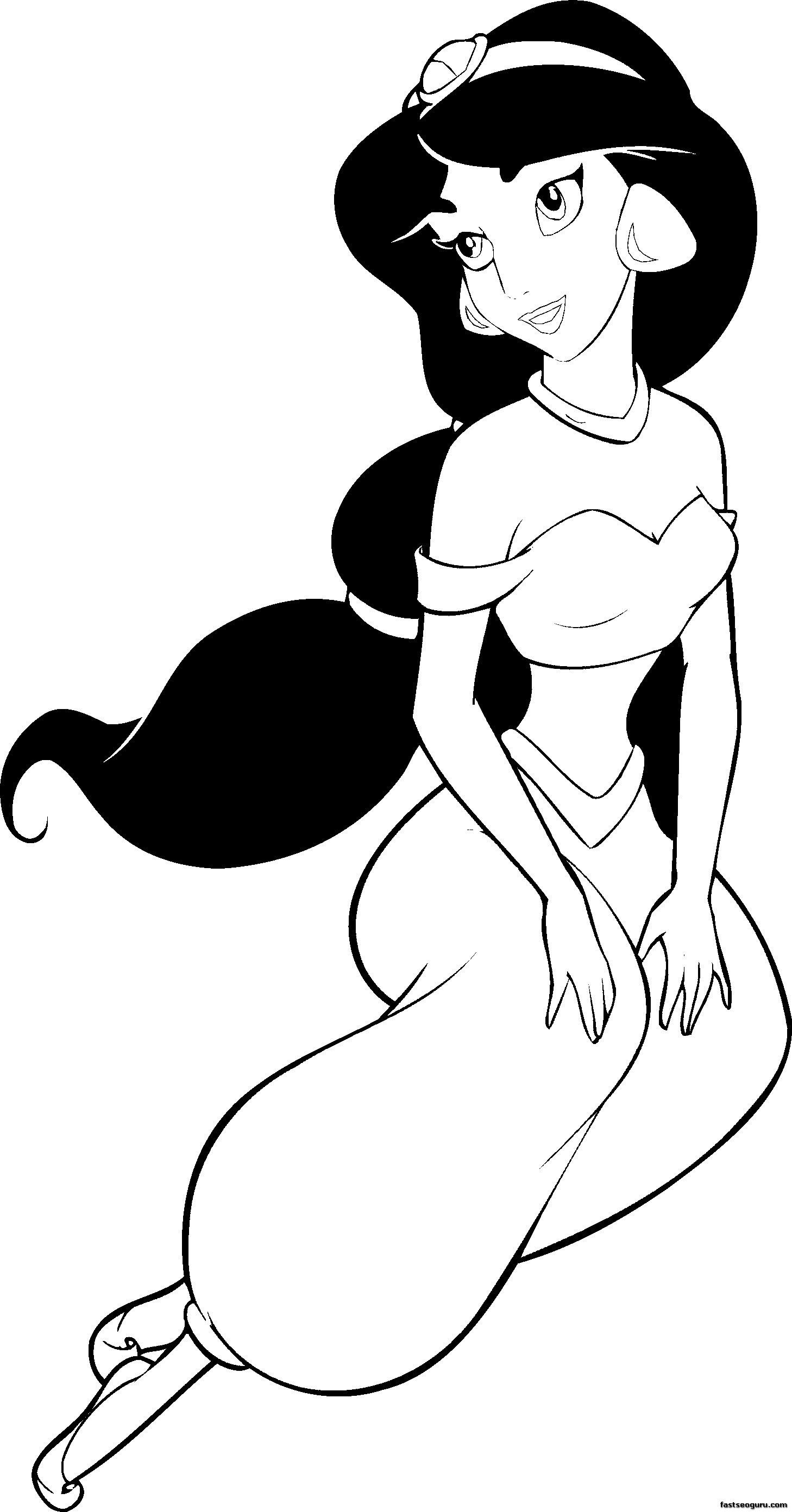 Printable coloring pages Disney Princesses Jasmine ...