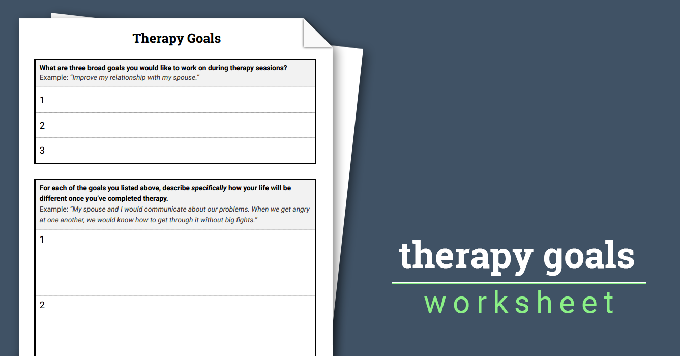 Therapy Goals (Worksheet) | Therapist Aid