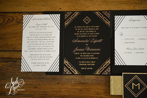 Amanda   James's Gold Foil Art Deco Wedding Invitation