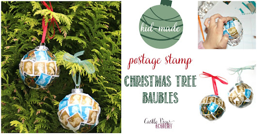Kid-Made Postage Stamp Baubles For The Christmas Tree