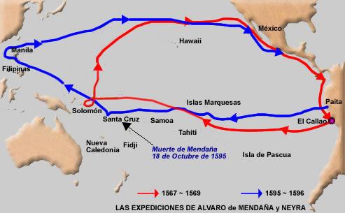 Resultado de imagen de mapa expediciones alvaro de mendaña