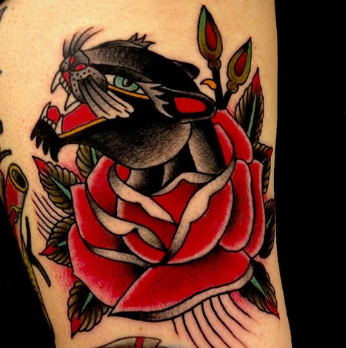 Leopard And Red Rose Traditional Tattoo In 2017 Real Photo