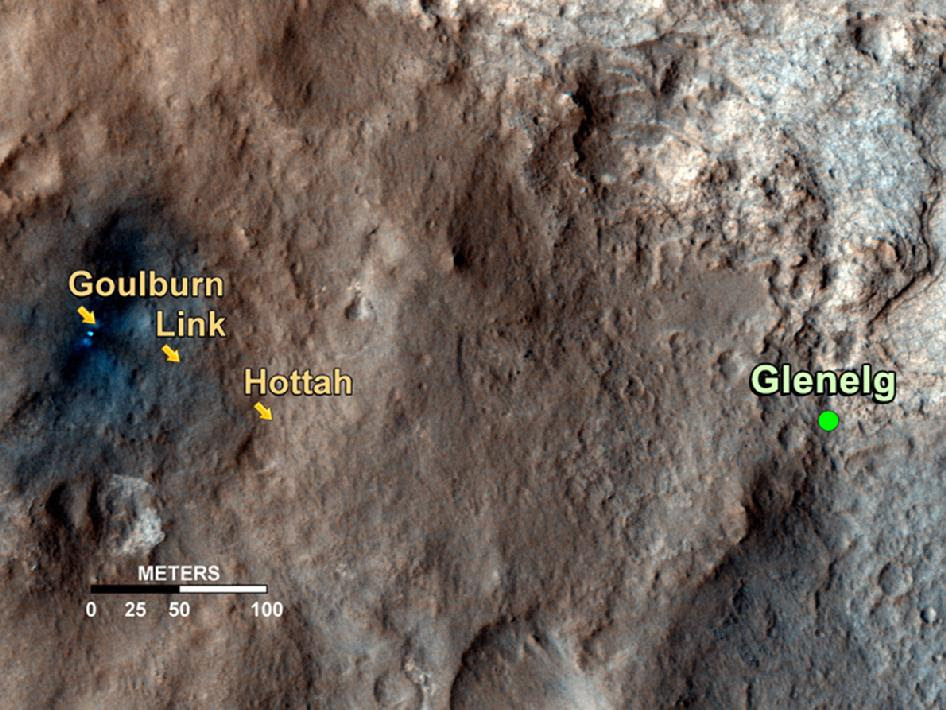 Map shows the path on Mars of NASA's Curiosity rover toward Glenelg
