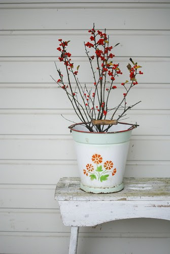 red berries in a bucket by wood & wool stool