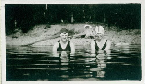 old bathing garb girls in pool