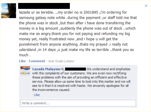 Lazada FB page comment on Outdated Penang Uncle blogspot dot com