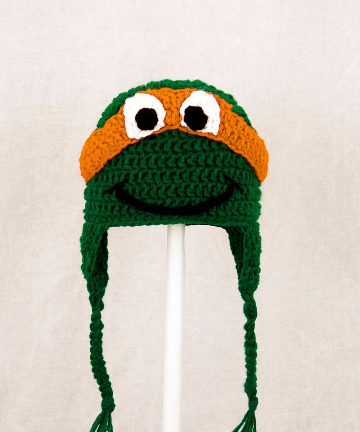 Teenage Mutant Ninja Turtles Earflap Hat, Green Crochet Beanie, send color and size choice baby - adult. $30.00, via Etsy.
