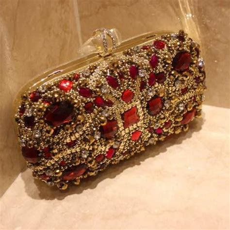 Luxury Red Crystals Bridal Hand Bags Evening Clutch Bags