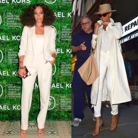 We reckon Solange and Beyonce were channelling their sisterly bond yesterday when they stepped out in very similar outfits. Yes, Solange may have been wearing a slick suit while Bey rocked a shirt, jeans and trench kind of vibe, but they both opted out of any coour in their all-white looks. Which do you prefer?