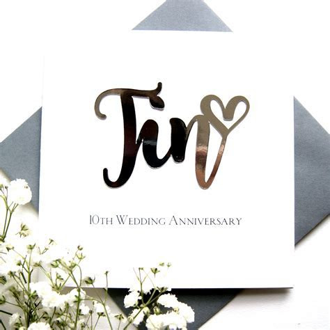 Tin 10th Wedding Anniversary Card   Shop Online