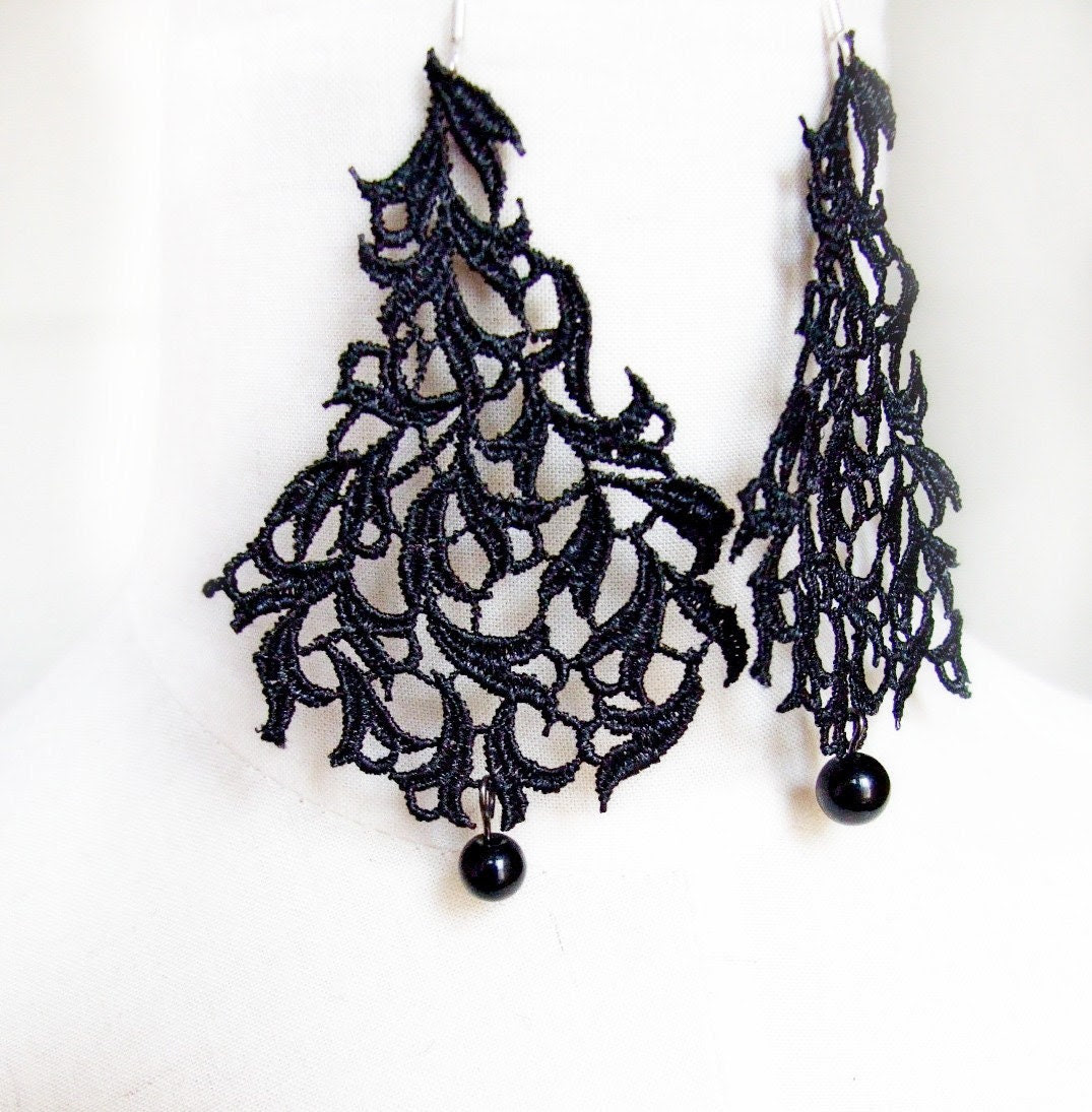 goth lace earrings - black beaded vintage large earrings - lace jewelry leaves - LaceFancy