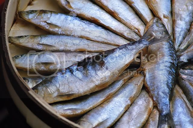 Herrings at Boqueria market stall in Las Ramblas, Barcelona [enlarge]