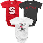 Infant NCSU NC State Wolfpack Bodysuits 3 Pack Organic Cotton Set