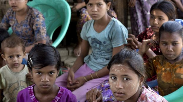 Ethnic Rohingya girls at a refugee camp in Rakhine state, Myanmar.