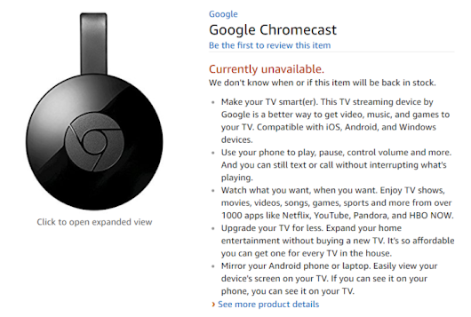30 days later, Chromecasts still aren't available on Amazon