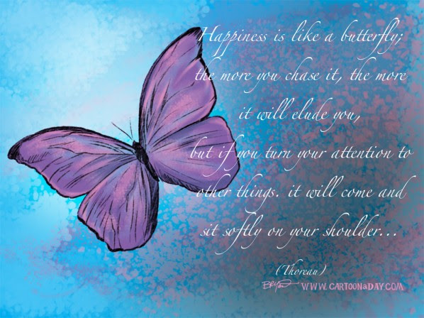 Happiness Is Like A Butterfly Cartoon