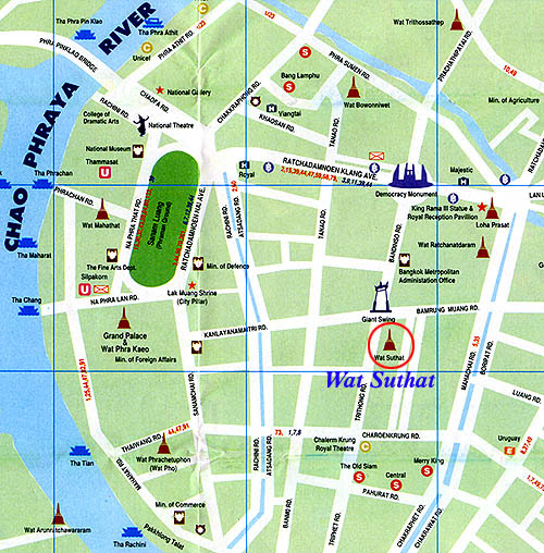 Wat Suthat Bangkok Location Map for Tourists,Location Map of Wat Suthat Bangkok,Wat Suthat Bangkok Accommodation Destinations Attractions Hotels Map,wat suthat thepwararam amulet and the giant swing photo pictures