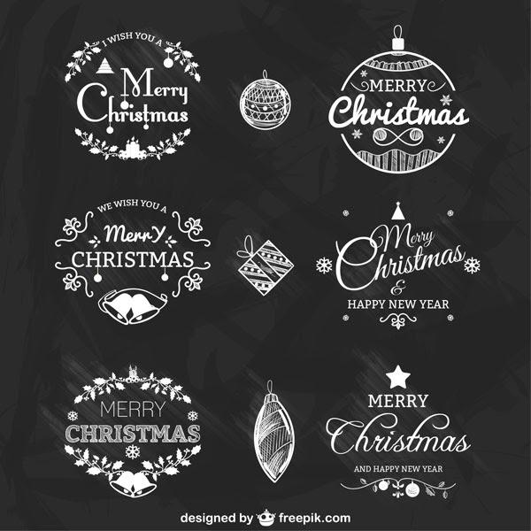 無料素材 黒板にチョークで描いたような上品で綺麗なクリスマスラベル