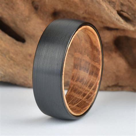 Black Tungsten Wood Ring Lined with Whisky Barrel White