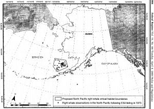 English: Map of sightings of North Pacific rig...