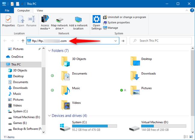 Ingresando la dirección de un servidor FTP en el Explorador de archivos de Windows 10