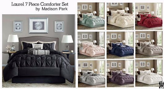 Details about Madison Park Laurel 7 Piece Comforter Set in 10 Colors and 4 Sizes