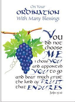 Deluxe ordination calligraphy greeting card on pearlised