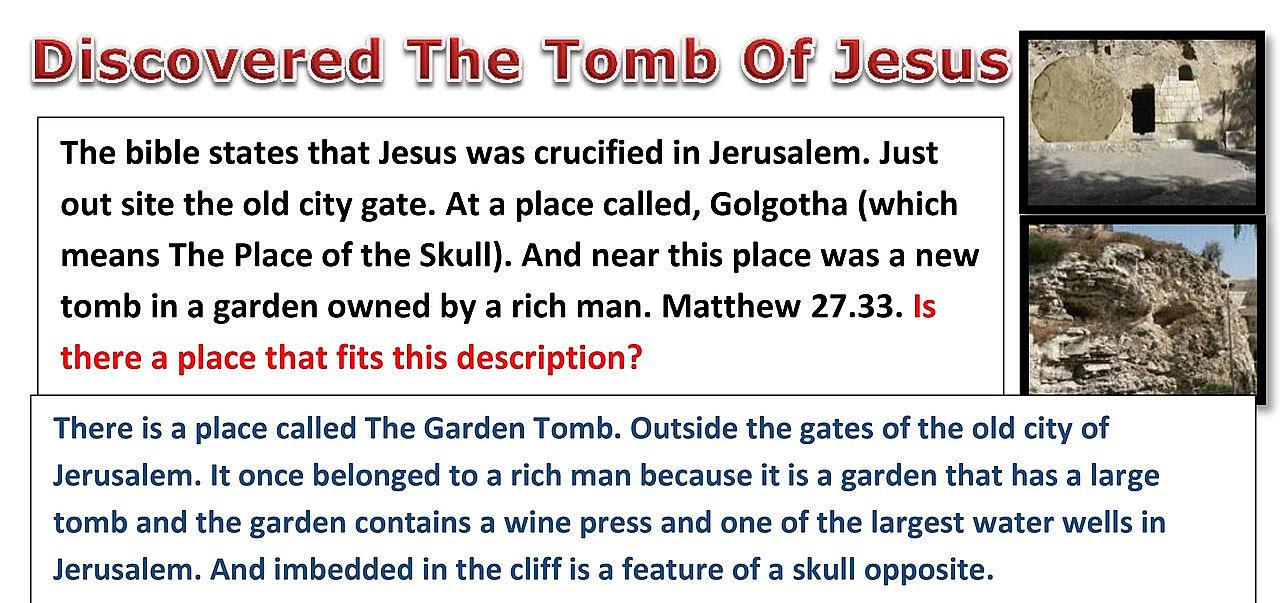 The Garden Tomb. The true tomb of Jesus.