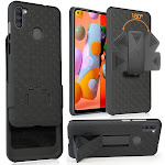 Galaxy A11 Case with Clip, Nakedcellphone [Black Tread] Kickstand Cover with [Rotating/Ratchet] Belt Hip Holster Holder Combo for Samsung Galaxy A11