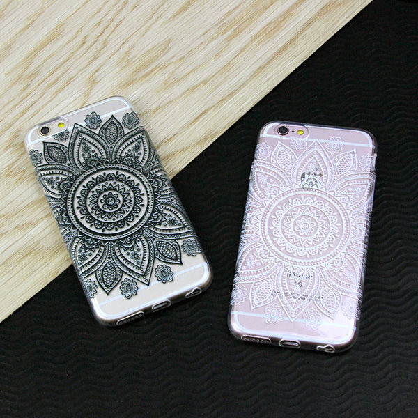 Black Or White Flower Mandala Design Clear Tpu Case Cover For Iphone