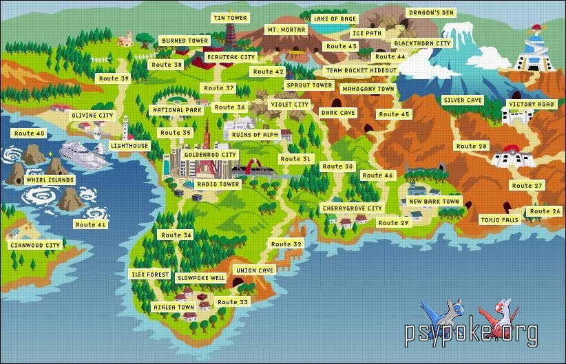 Map of the pokemon world pokemon pokemon gold silver and crystal world map gumiabroncs Choice Image