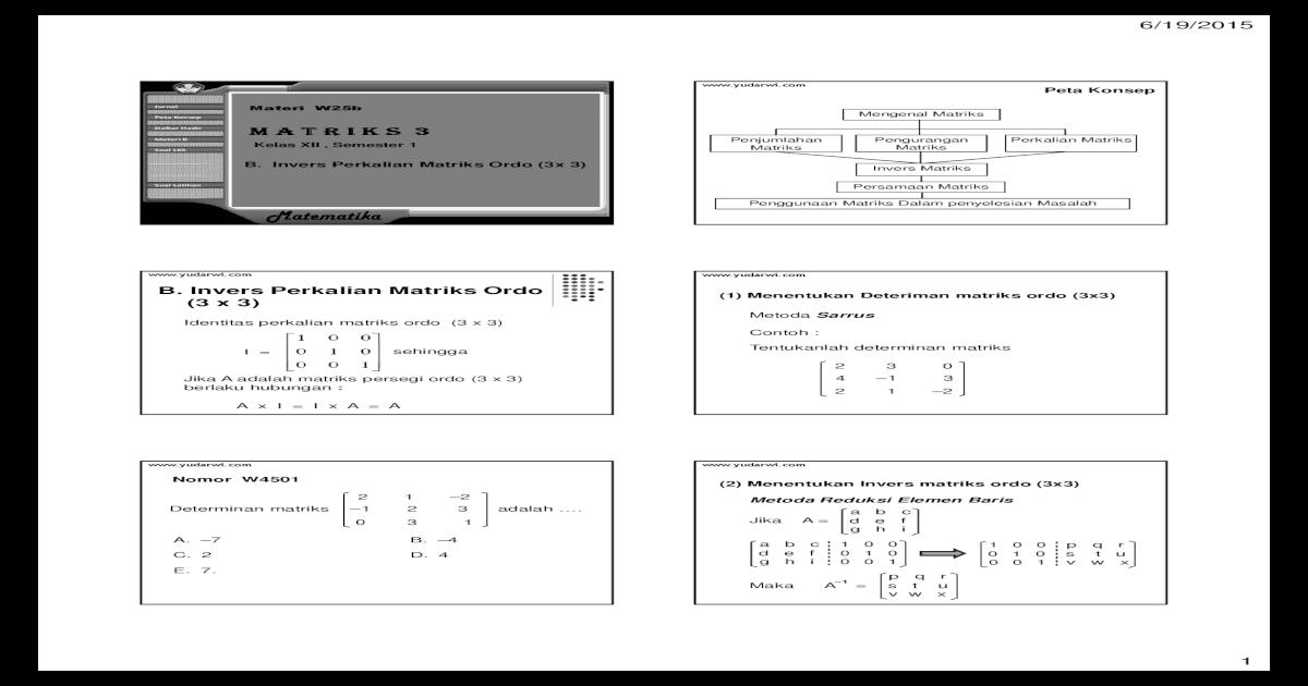 Contoh Soal Determinan Matriks Ordo 3x3 Metode Sarrus ...