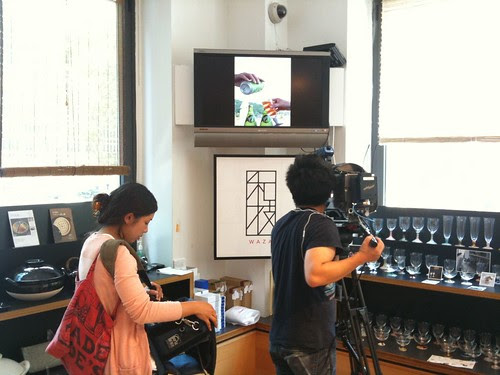 Japanese crew filming at Kinokuniya in NYC