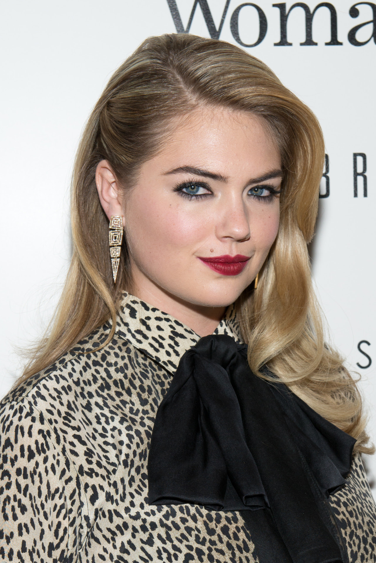 Kate Upton in Maiyet Open Machu Picchu earrings at The Cinema Society & Bobbi Brown with InStyle screening of 'The Other Woman' on April 24, 2014 in New York City.