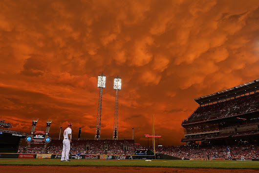 [The sky over Great American Ball Park in Cincinnati last night, as photographed by Getty Images' Ja
