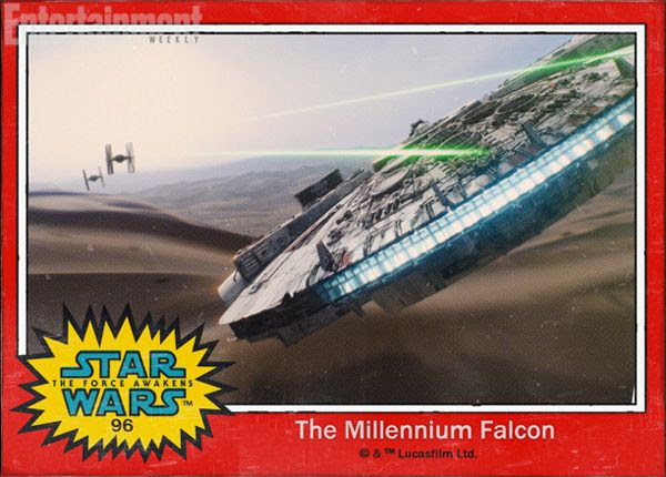 The Millennium Falcon confronts two TIE Fighters in STAR WARS: THE FORCE AWAKENS.