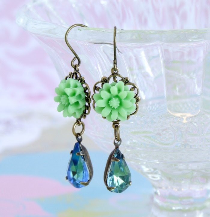 Pretty Mint Green Flower and Sapphire Peridot Vintage Jewel Earrings - Romantic and Feminine