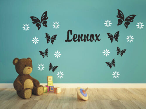 Wandtattoo 8 Schmetterlinge 12 Blumen Mit Namen Kinderzimmer 2 Farbig