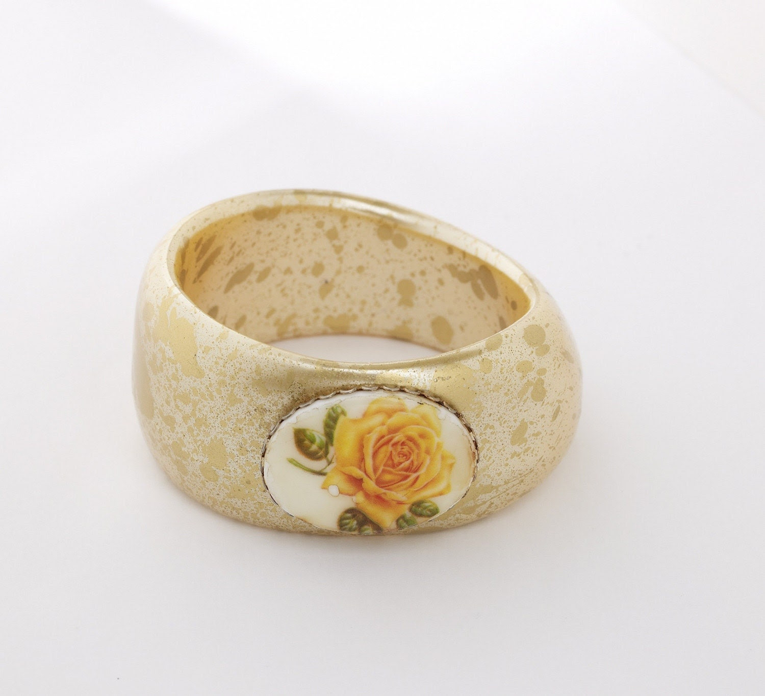 Reworked vintage floral cameo gold lucite bangle