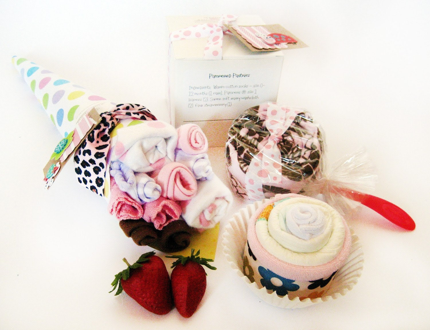 Diaper cupcakes - ULTIMATE baby gift set variety - 10 pcs