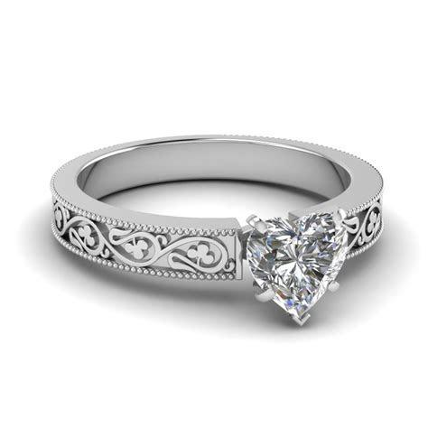 Heart Shaped Diamond Engagement Ring In 14K Rose Gold