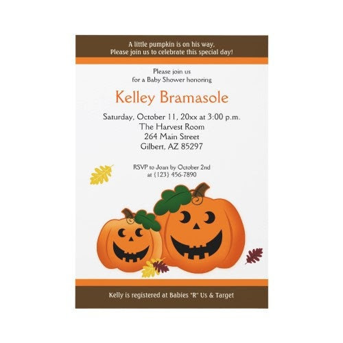 Fall Pumpkin Autumn or Halloween Baby Shower Invitatons Print Your Own JPEG Digital File JPG Printable
