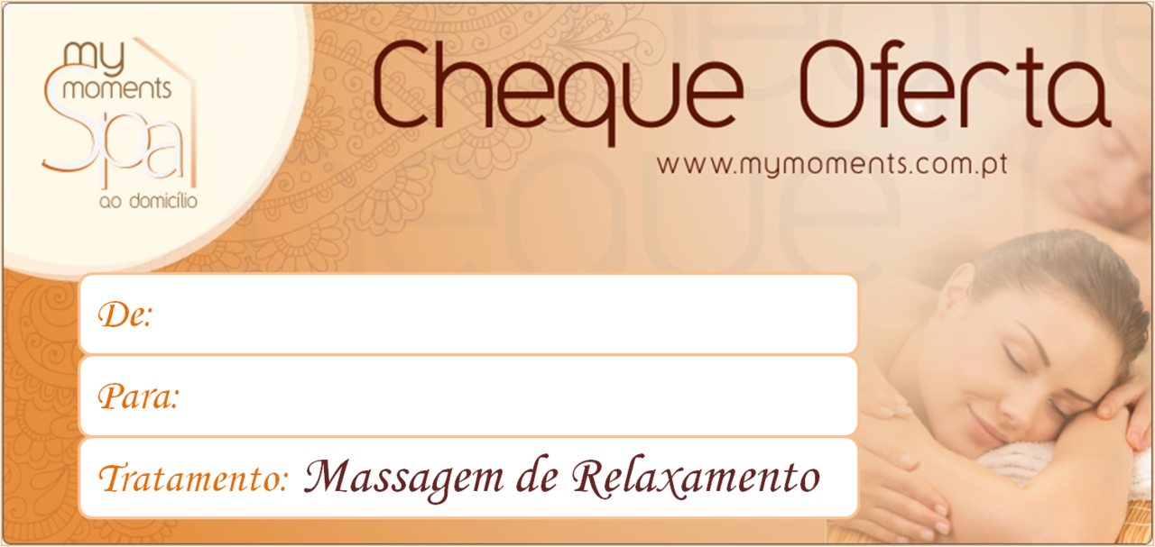 Cheque Oferta de uma Massagem de Relaxamento na zona de Lisboa e Setúbal My Moments Spa Facebook Site e-mail