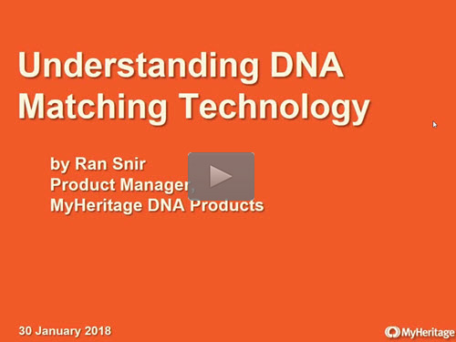 Understanding DNA Matching Technology - free webinar by Ran Snir of MyHeritage now online for limited time