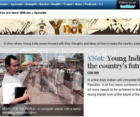 CNN IBN YNOT homepage featuring Kima