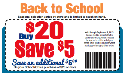 Back to School coupon
