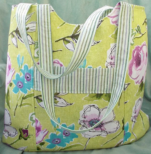 Tote - Green Floral - Large - Shopping