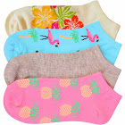 Luxury Divas Tropical Flamingos Pineapple Floral 4-Pack Ankle Socks