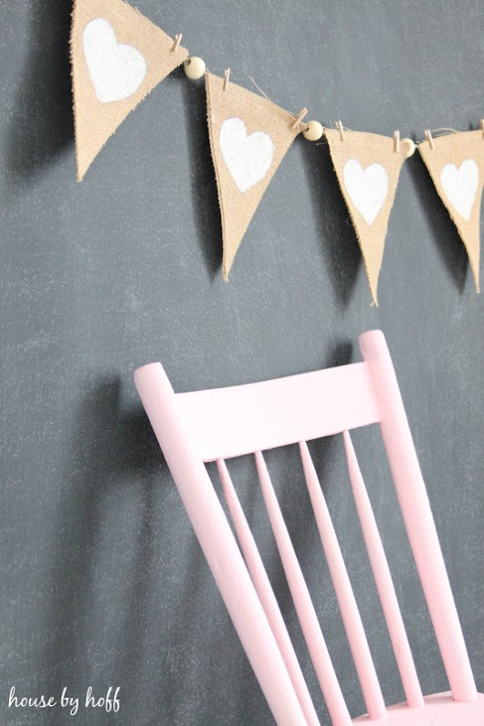 Burlap and Beads Valentine Pennants - House by Hoff